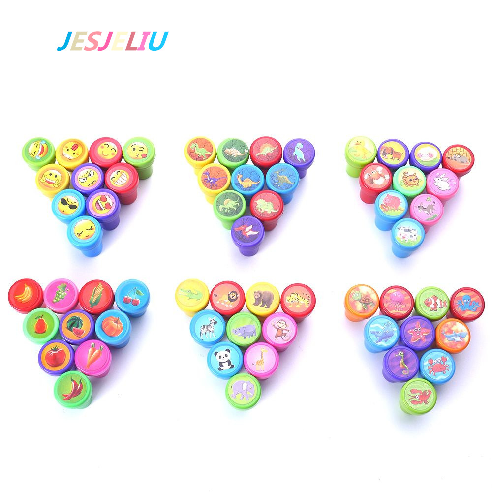 10Pcs/Set Self-ink Rubber Stamps Event Supplies Birthday Gift Lovely Fashion Stamps Toys Boy Girl Student School Office