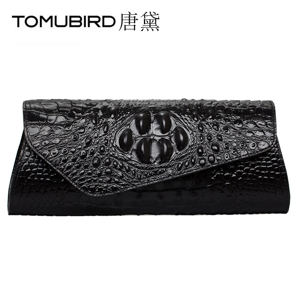 TOMUBIRD clutches women party hand bag Genuine Leather Female Embossed Crocodile Evening Bag bolsa feminina couro de vaca ombro women genuine leather character embossed day clutches wristlet long wallets chains hand bag female shoulder clutch crossbody bag