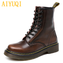 Купить с кэшбэком AIYUQI Female Martin boots 2019 spring new genuine leather women's booties, Lace white large size 43 44 casual shoes women