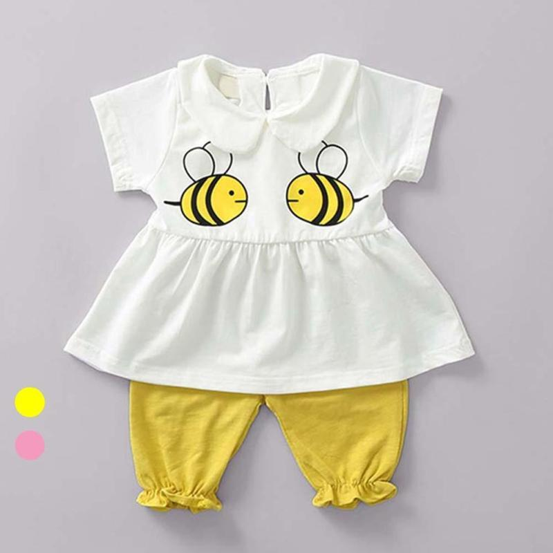 Summer Baby girl clothes Bee pattern t shirt+shorts suit clothing set baby clothing set newborn infant clothing D3-26B