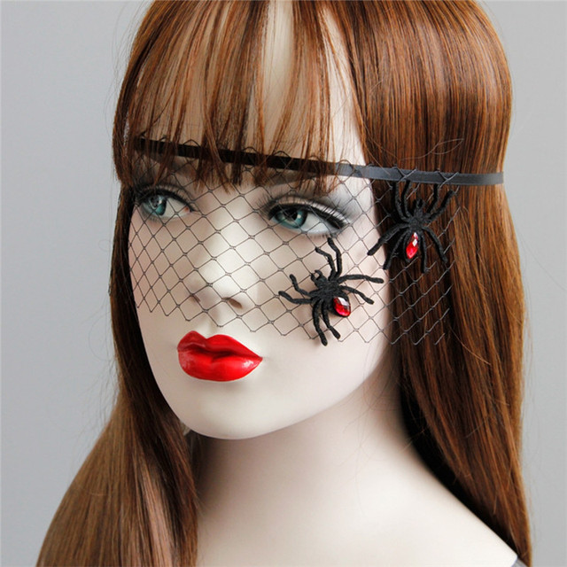 1 pc spider black lace mask halloween decoration cosplay costume eye masks for women party supplies - Black Eye Mask Halloween