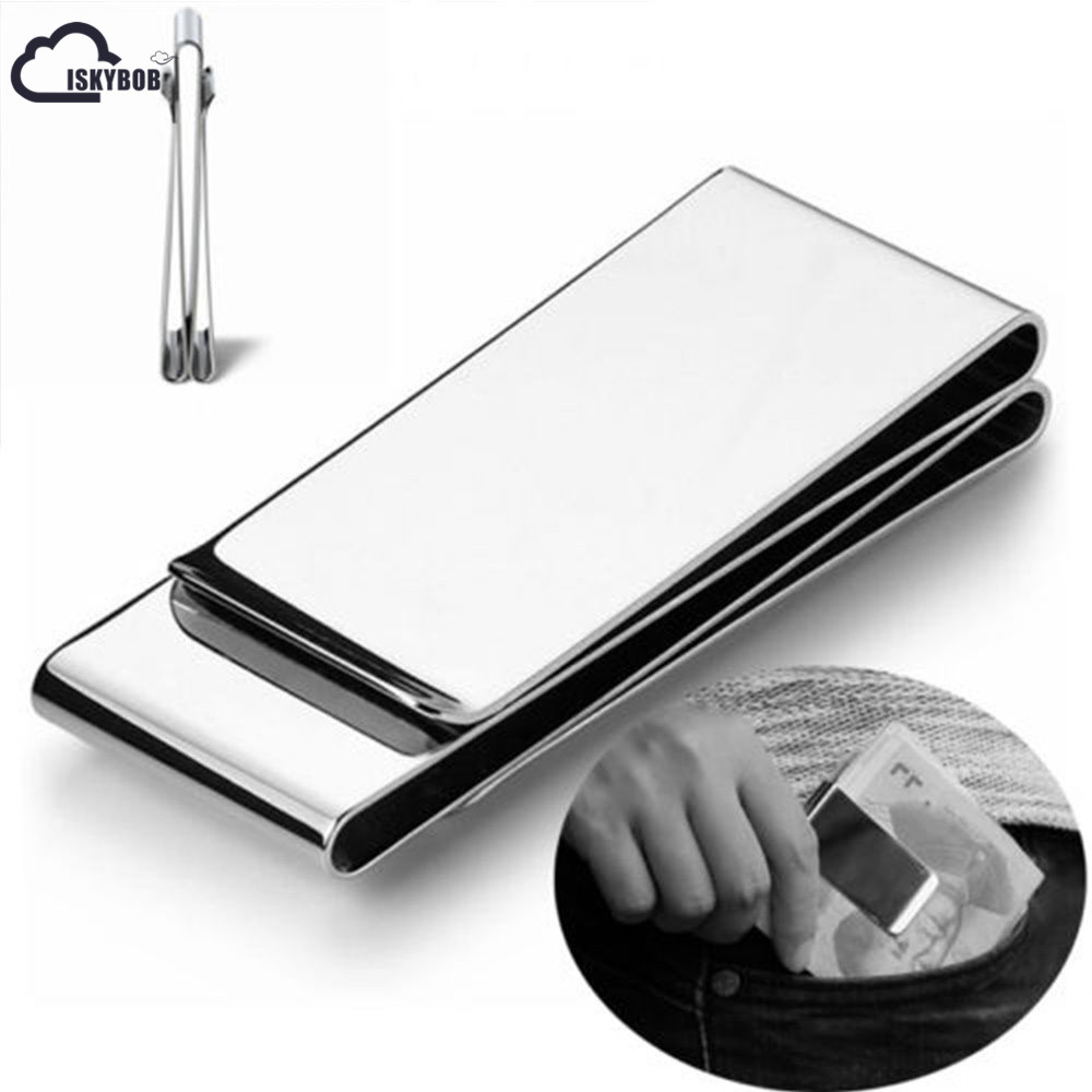 ISKYBOB Money Clip Card Dollar Metal Clamp Pocket Clip Holder Credit Cards Clips Double Sided Money clip wallet цена