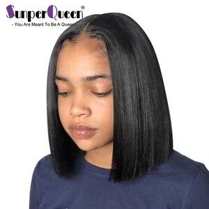 13x6 ludzki włos koronki przodu peruki z włosów prosto Remy 360 Frontal peruka brazylijski dziewiczy włosy Bob krótkie peruki dla czarnych kobiet 4x4 zamknięcie peruka