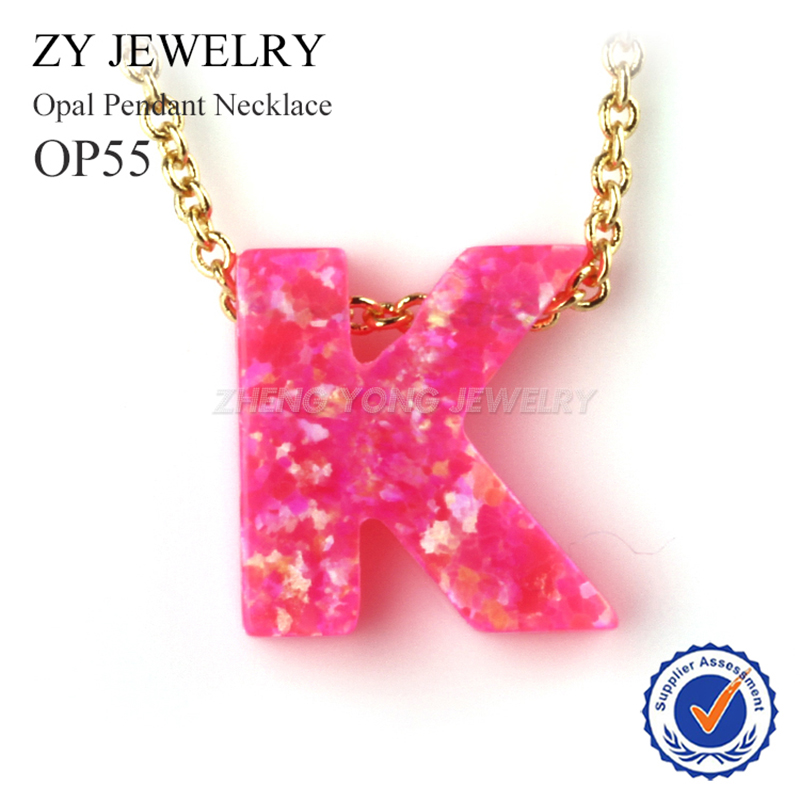 High Quality Pink Opal Jewelry Necklace Letter K Opal Pendant Necklace For Gift(China)