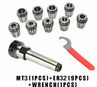 9pcs ER32 Spring Collets + 1PCS MT3 M12 ER32 Collet Chuck Morse Taper Holder For CNC Milling Lathe Tool