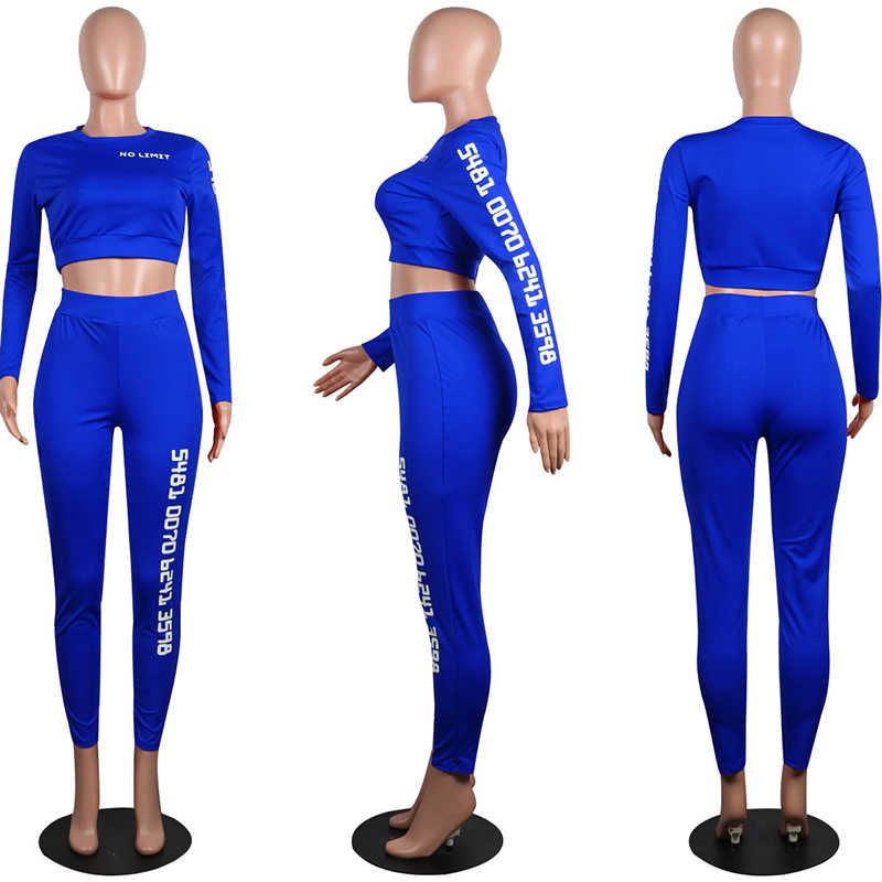 TWO PIECE SET Crop Top Long Sleeve Tracksuit Women Letter Print Workout Track Suit Sportswear Sportsuit High Waist Pants Fitness