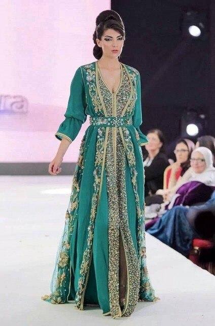 Vestido En 2016 Pensar De Vamos Kaftan Gasa Verde Fiesta Año Robe AwzqwWO7X