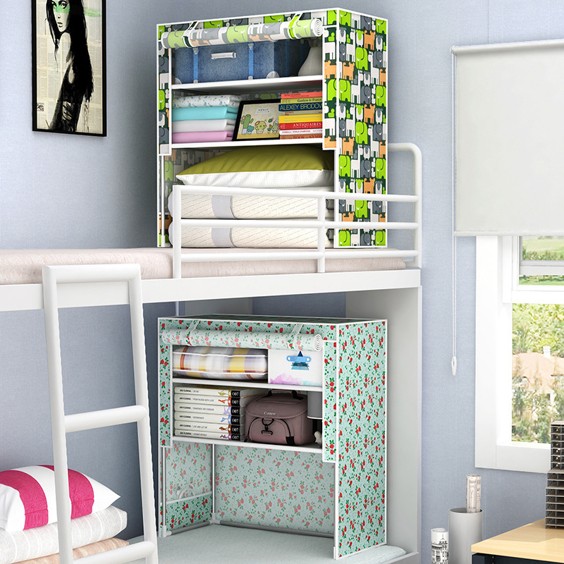 Students in bed Wardrobe Non-woven Steel frame reinforcement Standing Storage Organizer Detachable Clothing Closet furniture standing in for lincoln green
