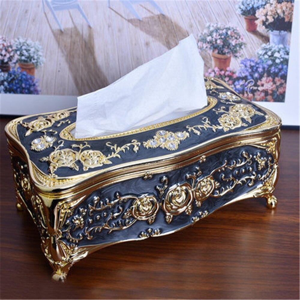 European Vintage Tissue Box Cover Napkin Holder Case Home Room Car Hotel Decor