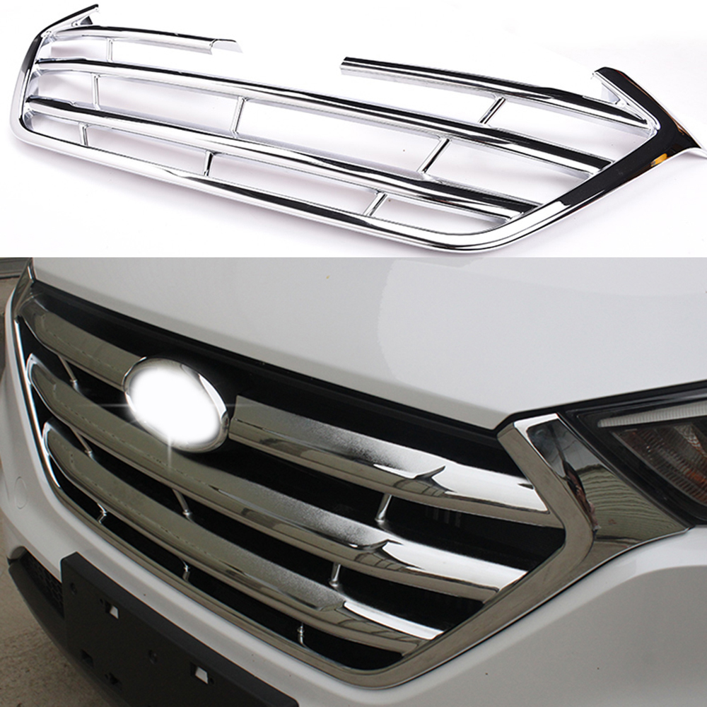 Car Protector Front Center Grille Cover Racing Grill Frame Trim ABS Chrome For Hyundai Tucson 2016 2017 abs chrome front grille around trim racing grills trim for 2013 hyundai santa fe ix45
