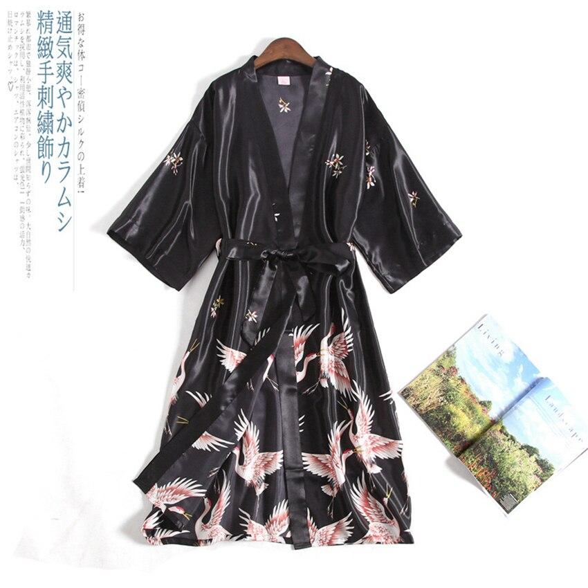 Summer Cardigan Japanese Style Crane Women Kimono Satin Yukata Vintage Nightgown Plus Haori Pajamas Party Spa Korean Long Robe