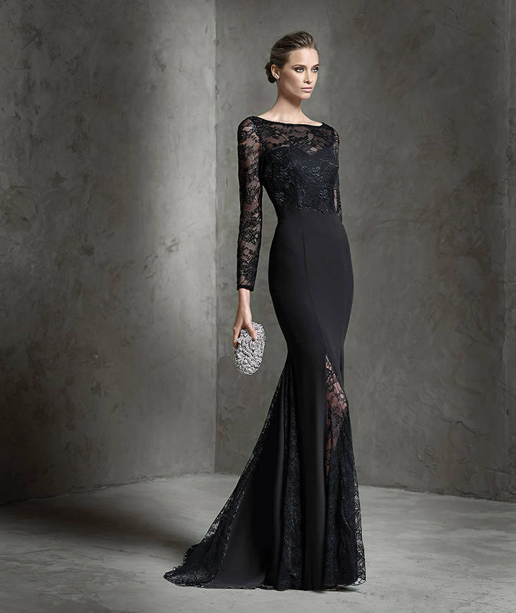 Black Lace Satin Evening Dresses Boat Neck Full Sleeves Floor Length ...