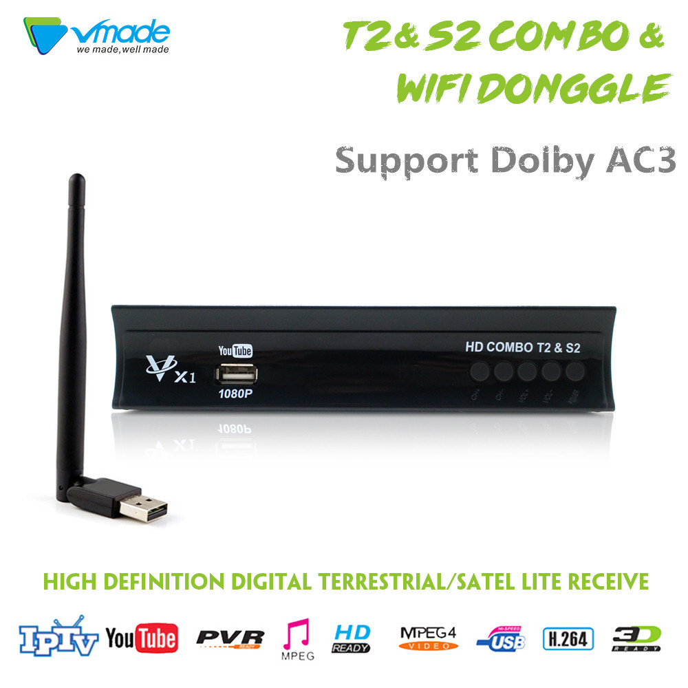 Vmade Full HD numérique DVB T2 S2 combiné récepteur Satellite terrestre TV Tuner H.264 MPEG-2/4 1080p prise en charge AC3 CCCAM IPTV + WIFI
