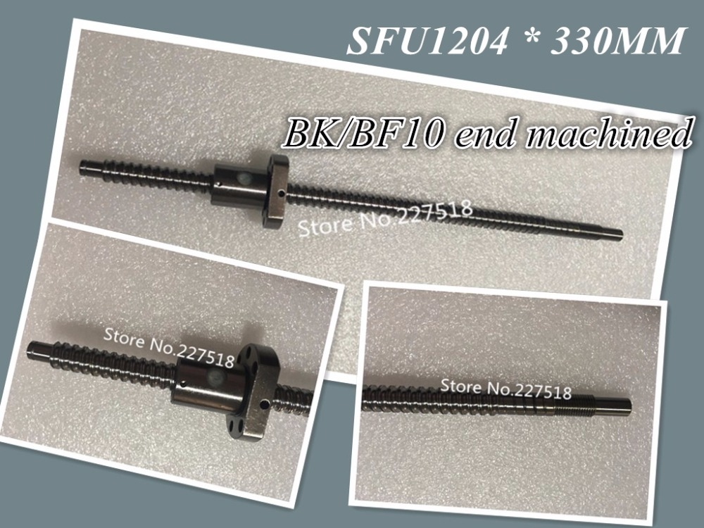 1 pc 12mm Ball Screw Rolled C7 ballscrew SFU1204 330mm plus 1 pc RM1204 flange single nut CNC parts BK/BF10 end machined durable 1 pc sfu1204 l500mm rolled ball screw c7 with single ballscrew nut od22mm for bk bf10 end machined cnc parts mayitr