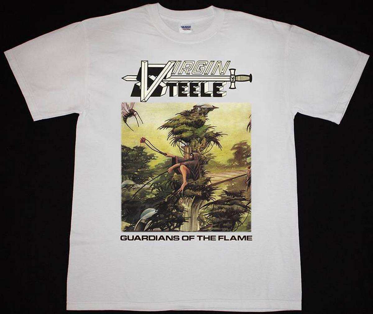 VIRGIN STEELE GUARDIANS OF THE FLAME HEAVY POWER METAL OMEN NEW WHITE T-SHIRT Men Brand Printed 100% Cotton T Shirt
