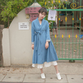 Mañana de La Vendimia Mori Muchacha de Las Mujeres de Invierno Larga Trinchera de Manga Larga lago Azul de Lino Abierta Trinchera Capa Ocasional Outwear con Cintura cinturón