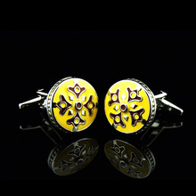 Bridegroom Wedding Party Business Men French Shirts Cuff Links Yellow Enamels Crown Cufflinks Silvery Cufflink With Gift Bag