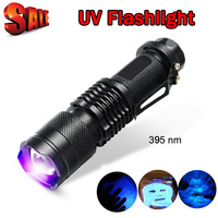 UV Light 395nm Powerful LED Flashlight Tactical Flashlight UV Flashlight Purple Violet Light UV torch Lamp free shipping ZK93