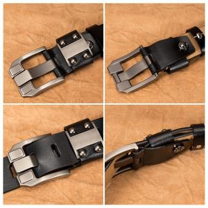 Image 4 - BISON DENIM Mens Jeans Belts Pin Buckle Cowhide Genuine Leather Belts Vintage Brand Waistband Strap Belt For Men Male N71350