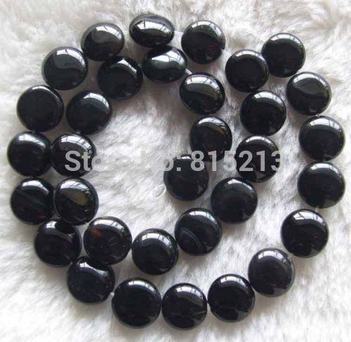 """Wb 00219 15 pulgadas 12mm Negro Onyx Beads Coin 15 """"5 unid"""