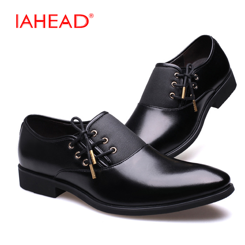 IAHEAD Men Casual Shoes Luxury Business Dress Shoes Genuine Leather Lace-Up Oxfords Shoes Plus Size 38-47 zapatos MU547 fashion genuine leather men shoe zapatillas zapatos hombre lace up work man casual business party mens dress shoes plus size 48