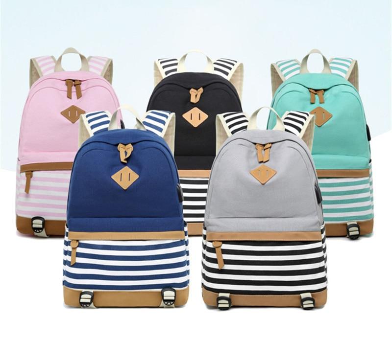 HTB1KrPpXdzvK1RkSnfoq6zMwVXaD Hot Sale Canvas Backpack Women School Bags for Girls Large Capacity USB Charge Laptop Backpack Travel Rucksack for Teenagers