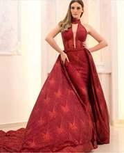 Красные вечерние платья 2019 сверкающая блестящая Съемная юбка