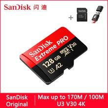 SanDisk Extreme Pro Micro SD การ์ด 128 GB 32 GB 64 GB 256 GB 400 GB U3 4 K หน่วยความจำการ์ด 32 64 128 gb การ์ด SD/TF MicroSD สำหรับโทรศัพท์