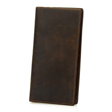Men Crazy Horse Leather Wallet Long Clutch Purse Male Vintage Coin Bags