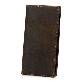 Men Crazy Horse Leather Wallet Long Leather Clutch Purse Male Vintage Coin Bags Wallet цена 2017