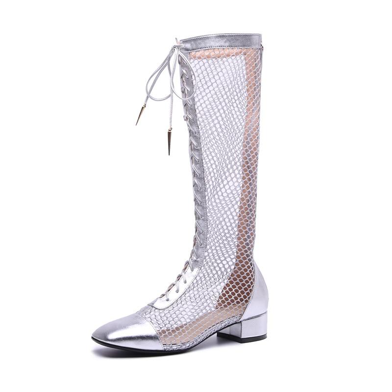De Moda black Ankle High Botas Plata Alta Calidad 3 Zapatos Verano Cm silver Charol 5 Mujeres High Black 2018 FqwdS4w