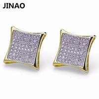 JINAO Men Ice Out Bling Jewelry Square Earring HipHop Gold Color Micro Pave Cubic Zircon Lab