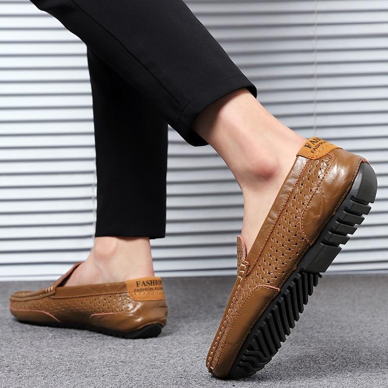 HTB1KrQJMYvpK1RjSZPiq6zmwXXat Summer Men Shoes Casual Luxury Brand Genuine Leather Mens Loafers Moccasins Italian Breathable Slip on Boat Shoes Black JKPUDUN