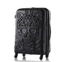 Чемодан с изображением черепа, известный бренд, Дорожный чемодан, 3d Чемодан для путешествий, крутой чемодан с изображением черепа, чемодан