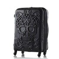 Чемодан с изображением черепа, известный бренд, Дорожный чемодан, Оригинальный 3d багажник, Дорожный чемодан, крутой чемодан с изображением