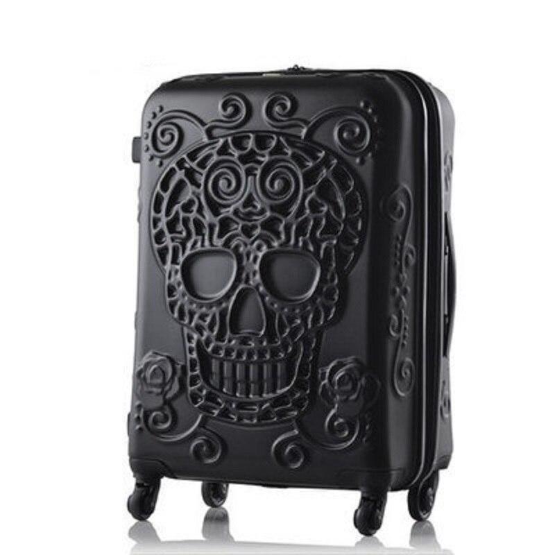 Skull bagaż znane marki walizka podróżna oryginalny 3d bagażnika podróży bagażu fajne czaszki bagaż walizka w Bagaż podróżny od Bagaże i torby na  Grupa 1