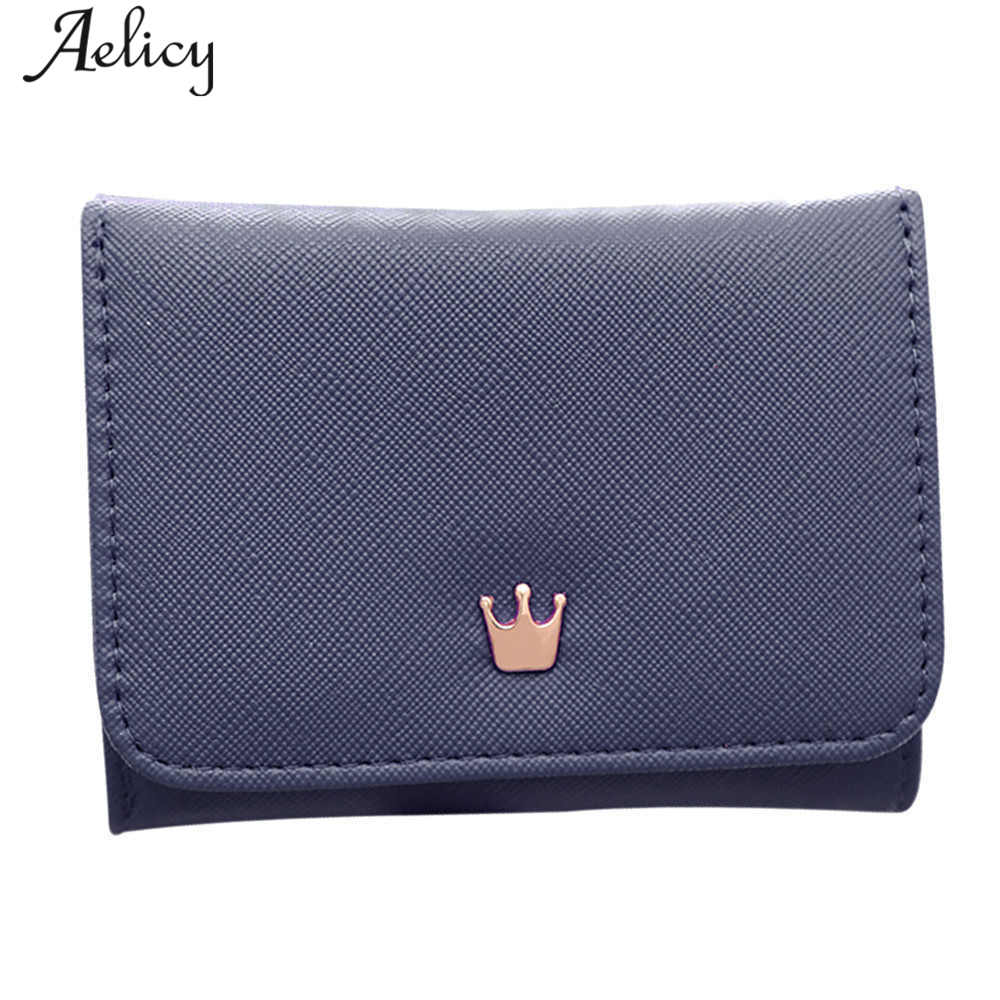 Aelicy New Crown Lady Short Women Wallets Mini Money Purses Fold PU Leather Bags Female Coin Purse Card Holder carteira feminina