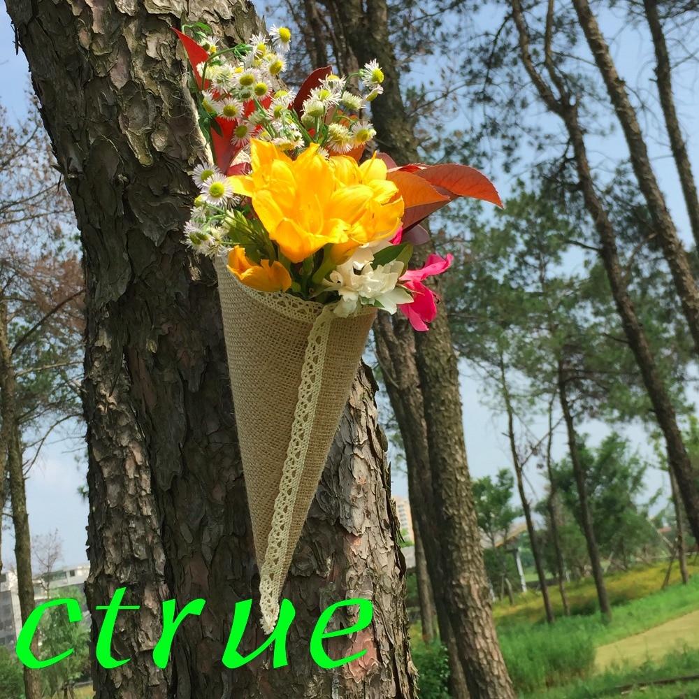 12 ADET Hessen Çuval Bezi Asılı Pew Koni Çiçek Tutucu - Tatiller ve Partiler Için