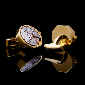 Image 2 - KFLK jewelry shirt cufflink for mens Brand cuff button Gold color watch movement cuff link High Quality abotoadura guests