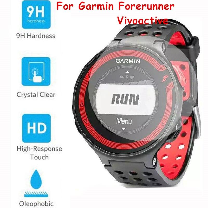 imágenes para 50 pc/lot vidrio templado protector de pantalla de cine para el garmin forerunner 225 235 620 hr 735xt 630 vivoactive smart watch película