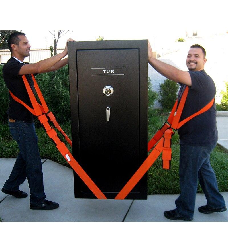 Nuevo útil elevación mudanza Correa cinturón de transporte de muebles en correas de hombro equipo correas transporte más fácil almacenamiento naranja
