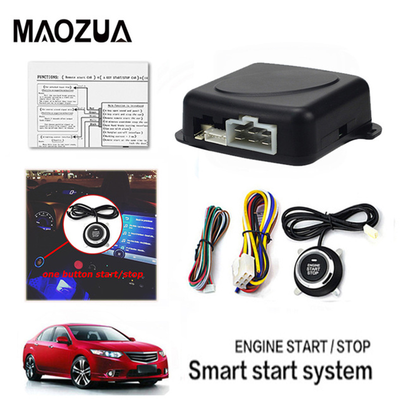 Maozua Auto Engine Push Start Button Car Alarm Stop Remote Control Starter Keyless Entry System