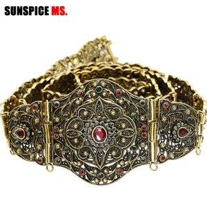 Image 1 - SUNSPICE MS antigo ouro cor metal cinto de cintura para mulher caftan cintura marrocos casamento jóias do corpo comprimento ajustável corrente