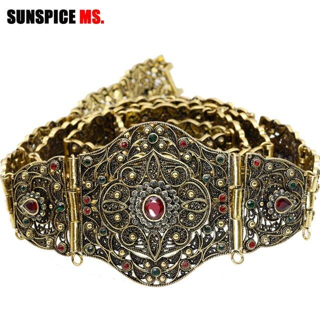 SUNSPICE MS antigo ouro cor metal cinto de cintura para mulher caftan cintura marrocos casamento jóias do corpo comprimento ajustável corrente