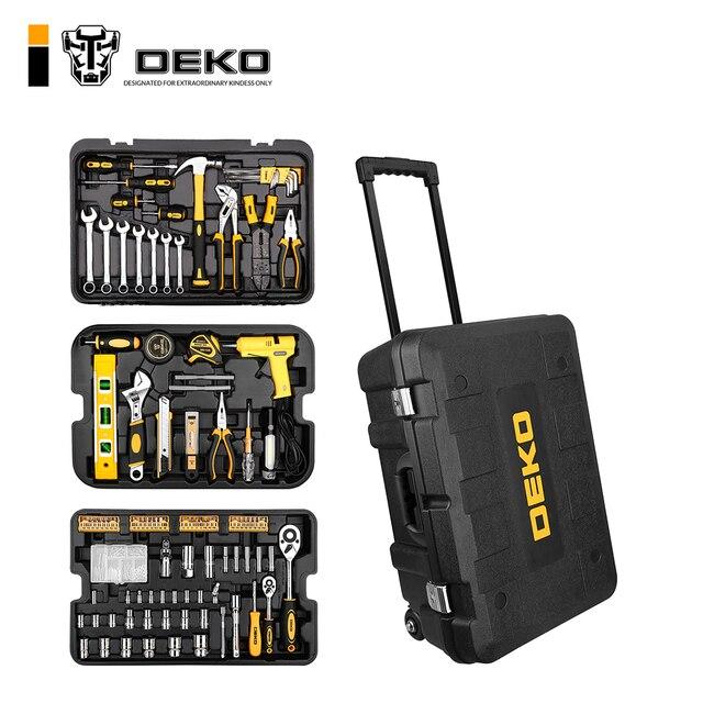 DEKO 255 шт. Набор инструментов с шкаф для инструментов метрики торцевой ключ ручной инструмент комплект футляр для хранения отвертка с гаечным ключом Ножи