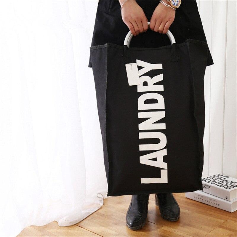 Cloth Laundry Basket Storage Bag Alloy Handle Laundry Hamper Waterproof Oxford Toy Organizer Large Capacity Laundry Bag New