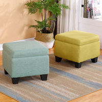 Wooden Chair Storage Box Storage Stool Bench Removable Lid Breathable Fabric Chairs Sofa Foot Stool Home Furniture Space Saving