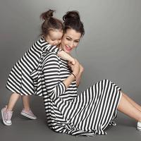 Mother Daughter Dresses Matching Casual Loose Striped Long Sleeve Clothes New 2016 Family Clothing Mother And