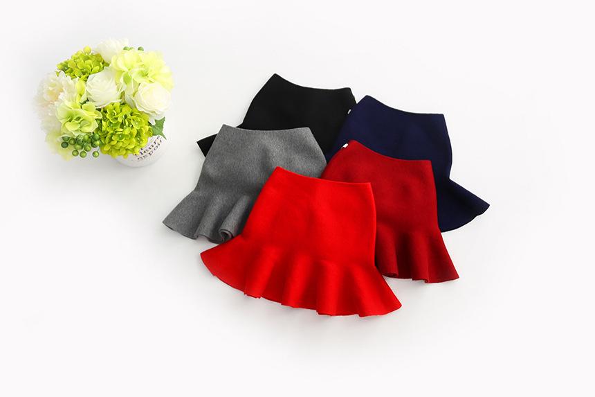 Wool knit solid short skirt girls half skirt 2017 new Korean children\'s clothing children\'s skirt (26)