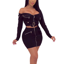 2019 Sexy 2 Piece Set Women Clothes Solid Off Shoulder Zipper Bodycon Long Sleeve Belt Top And Skirt